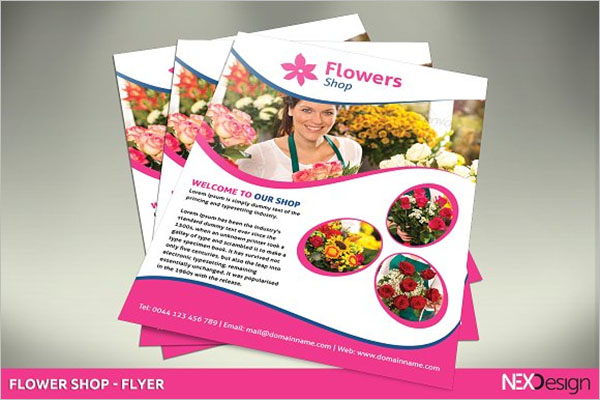 Pink Flower Shop Flyer Design