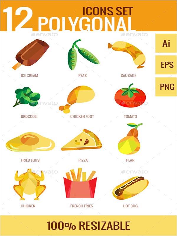 Polygonal Design Food Icon