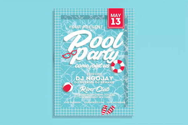 Pool Party Flyer Background