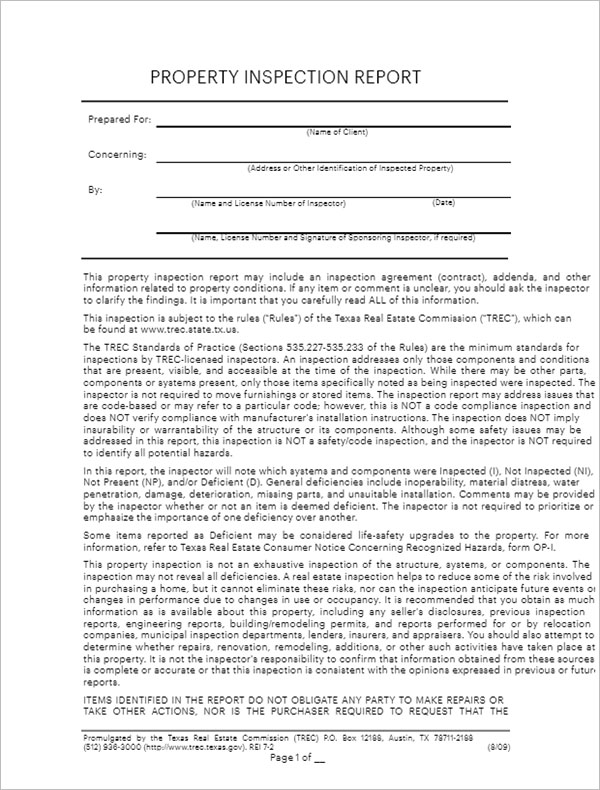 Property Inspection Report Template