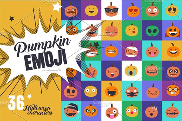 Pumpkin Emoji Icons Set
