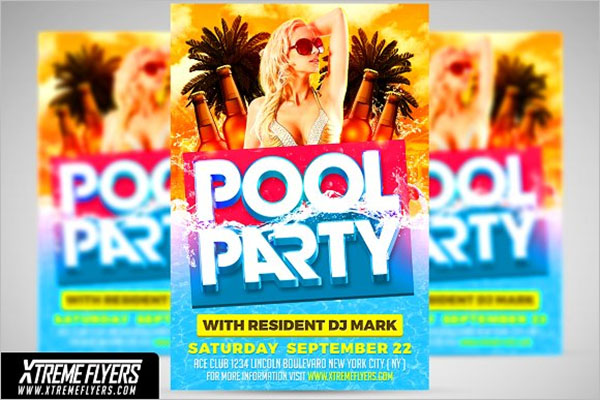 Resident Pool Party Flyer Design