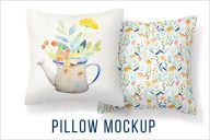 Retro Pillow Cover Mockup Template