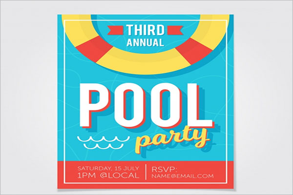 Sample Pool Party Flyer Template