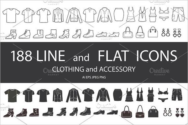 Set Of Clothing Icon Design