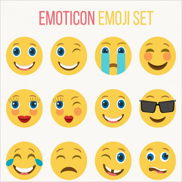 Set Of Emoji Smileys In Flat Style