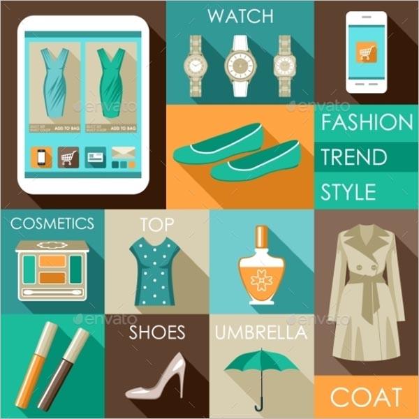 Set Of Flat Design Fashion Icon