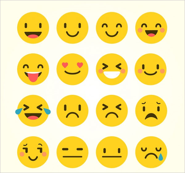 Several Emoticons In Flat Style