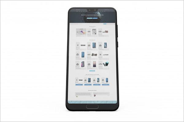 Smartphone display mockup