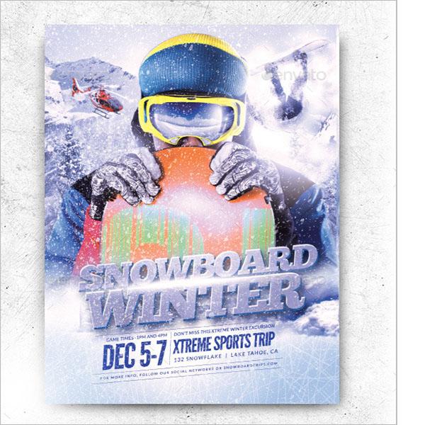 Snowboard Winter Flyer Template