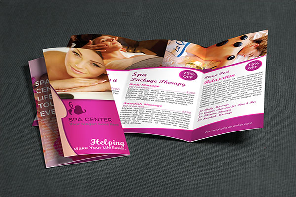 Spa Trifold Brochure Template