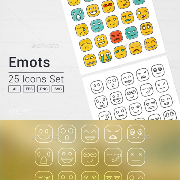 Square Emoji Icons Set Of  Symbols
