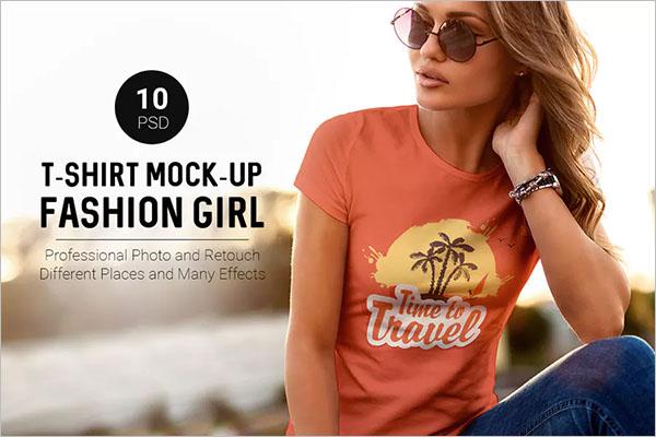 T-ShirtMock-Up Fashion Girl theme