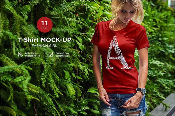 T-Shirt Mock-Up Fashion Girl