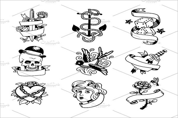 Tattoo Icons Design Vector