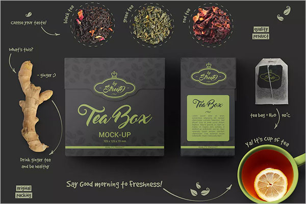 Tea Box Mockup PSD