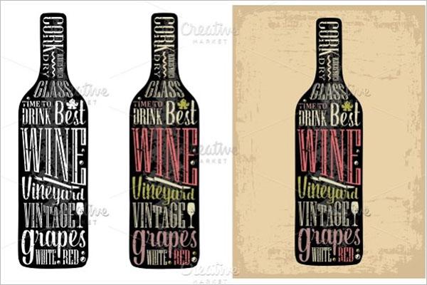 Typography Poster Wine Bottle