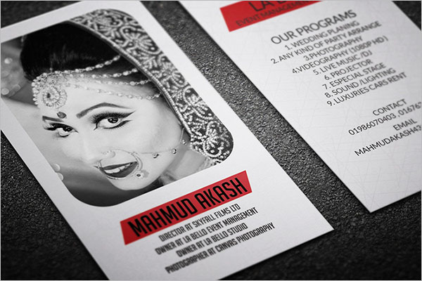 Wedding Management Business Card