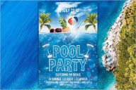 White Pool Party Flyer Template