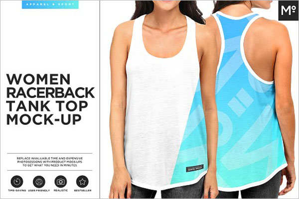 Women Racerback T-shirt Mock-up