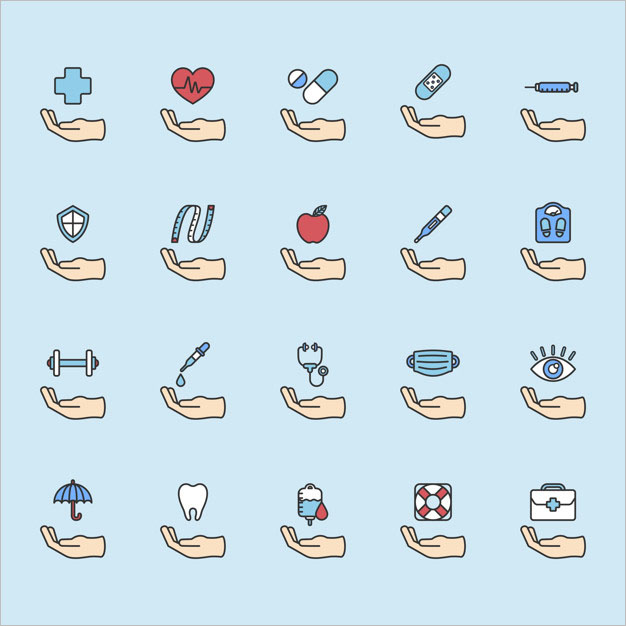 healthy living icons set Free Vector