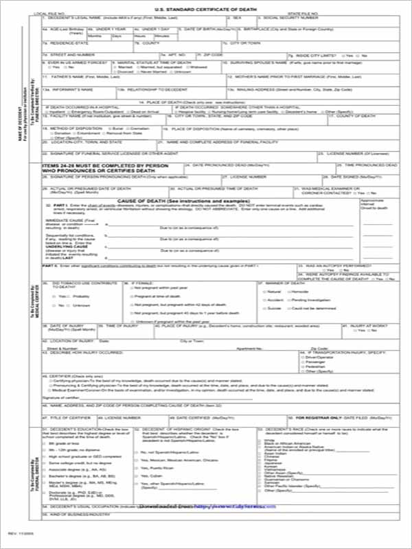 4 Death Certificate Template Download