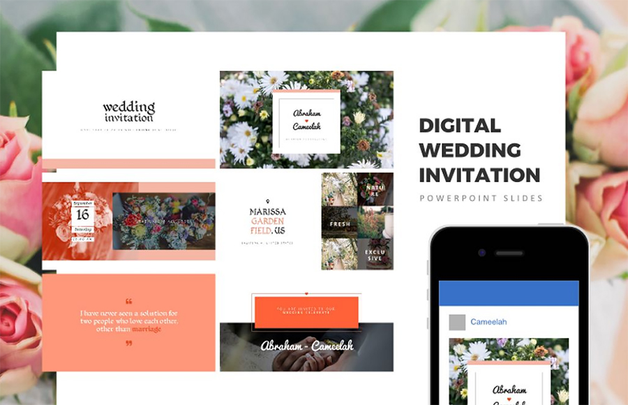 Digital Wedding Invitation, Wedding Invitation, wedding gift PowerPoint Template