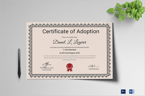 Best Adoption Certificate Template