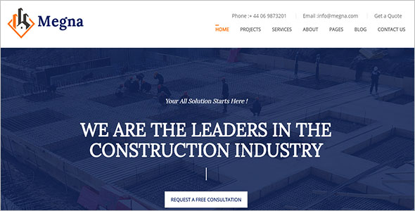 Construction Industry Architecture Website Theam