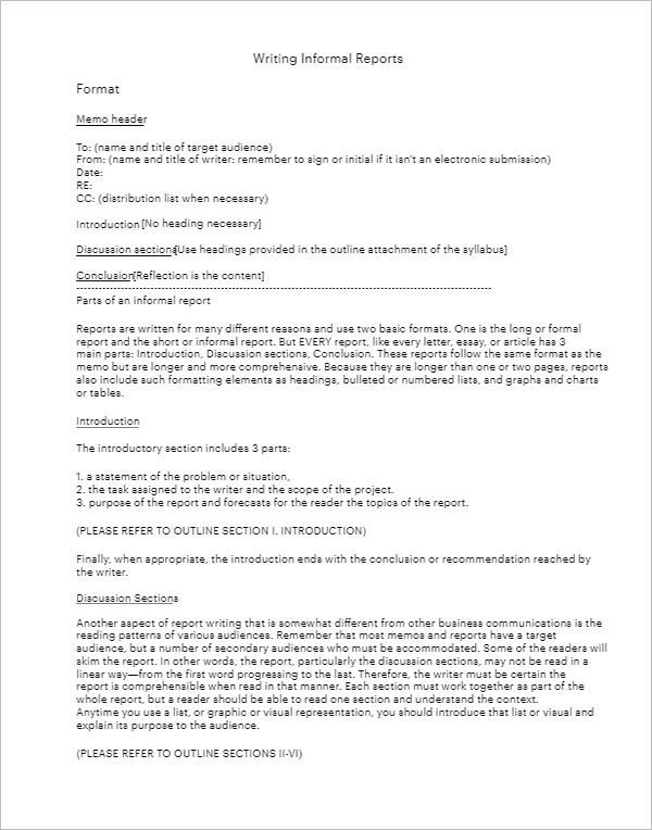 Informal Reports Format-Free Download