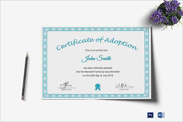 Latest Adoption Certificate Template