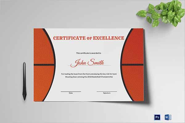 Modern Basketball Certificate Templates