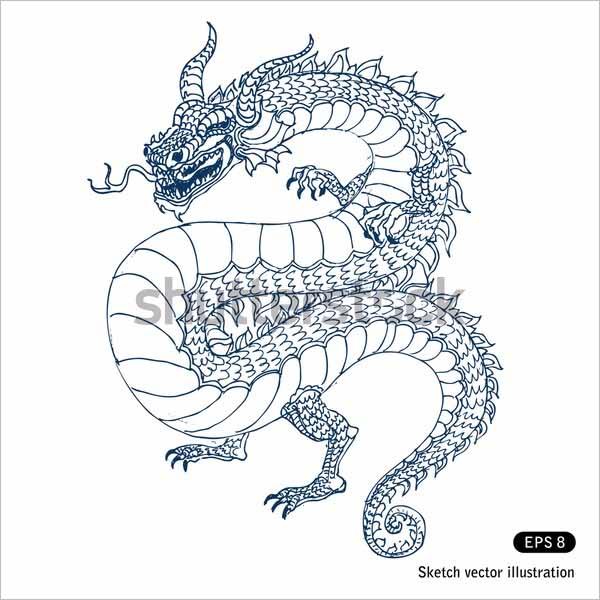 Modern Dragon Pencil Drawing Sketches