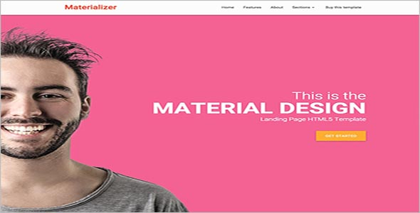 Professional Material Design Landing Page HTML