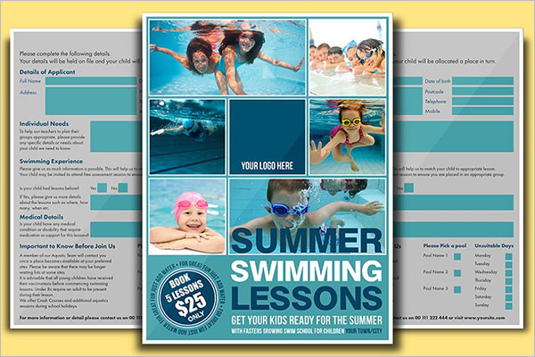 Swimming Flyer Certificate Template