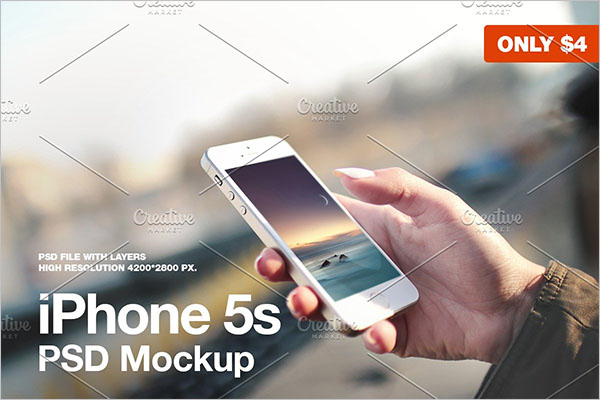 iPhone 5s in hand PSD Mockup