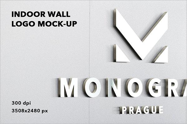 3D Indoor wall logo Mockup Badge