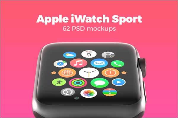 62 Apple Watches Mockup Bundle