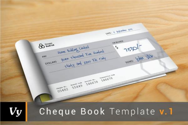 Cheque Check Book Template