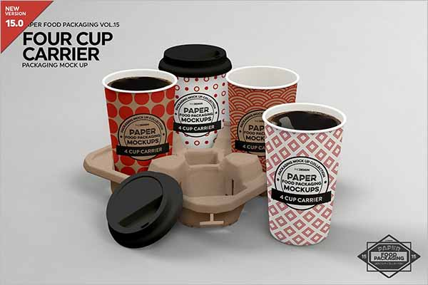 Coffee Cup Carrier Packaging Mockup