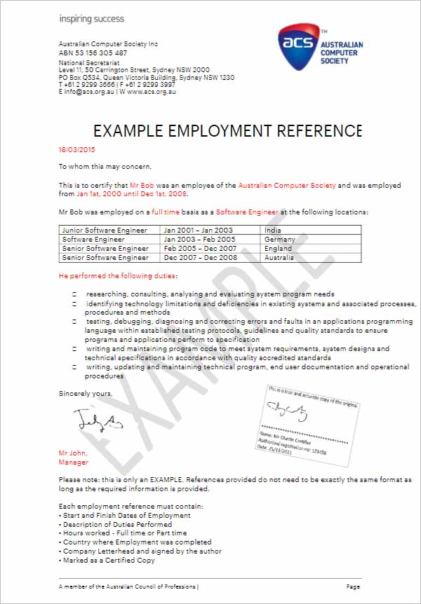 Employment Reference Letter For Visa Application