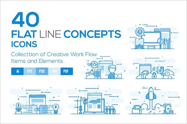 Flat Line Color App Icons