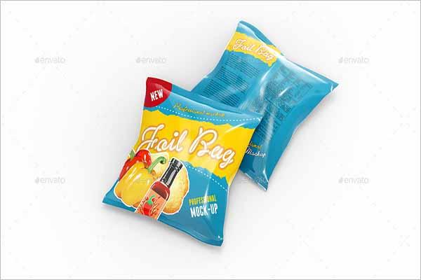 Foil Pack Mockup For Chips Bag