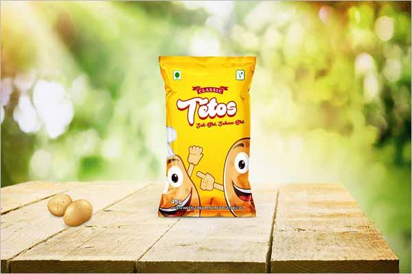Free Potato Chips Bag Mockup Design