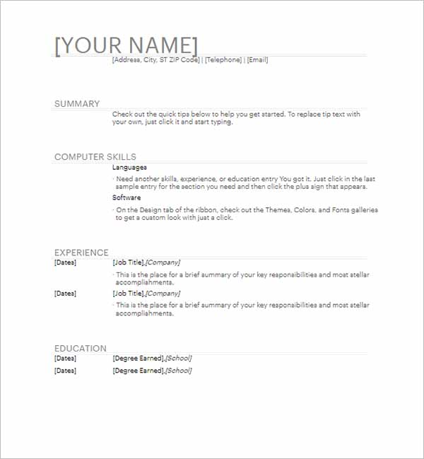 General Resume Outline Word