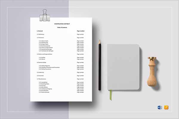 Latest Construction Contract Form Templates