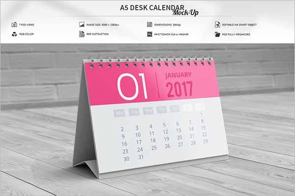 Latest Desk Calendar Mockup Template
