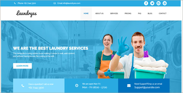 Laundry Website Template PSD