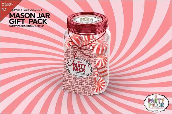 Mason Jar Gift Packaging Mockup