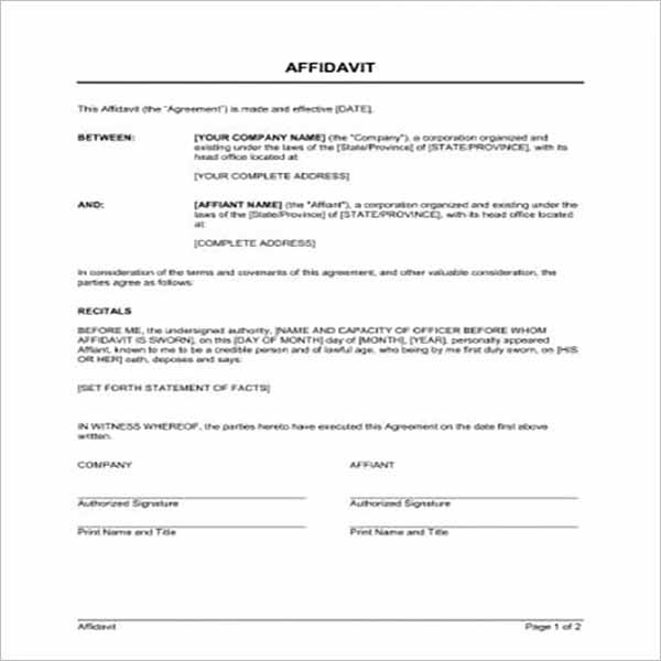 Modern Affidavit Form Templates